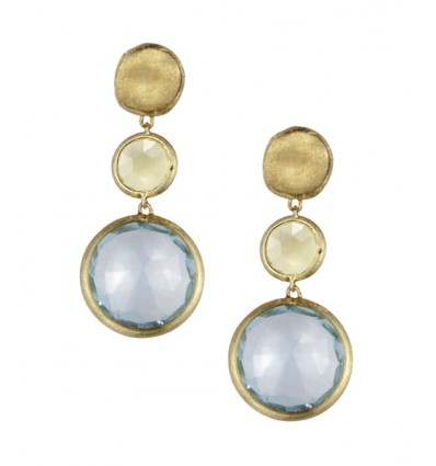 Yellow Gold with Citrine and Blue Topaz Drop Earrings Jaipur Marco Bicego OB900 MIX50 Y | Ferro Gioielli