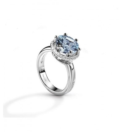 Damiani Minou white gold ring with diamonds and aquamarine | Ferro Gioielli