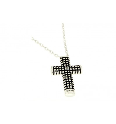 Silver with Black Diamonds Cross Necklace Metropolitan Dream Damiani | Ferro Gioielli