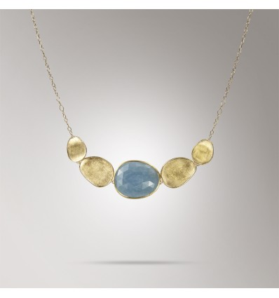 Yellow Gold and Aquamarine Graduated Necklace Lunaria Marco Bicego CB1877 AQD Y | Ferro Gioielli