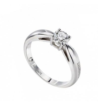 White Gold with Diamond Solitair Ring Cupido Damiani | Ferro Gioielli