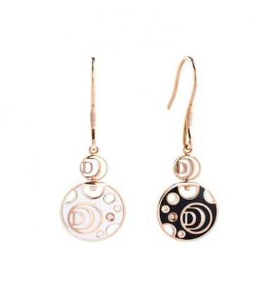 Rose Gold with White and Black Ceramic and Diamonds Earrings Damianissima Damiani | Ferro Gioielli