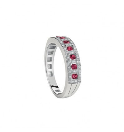 White Gold with Rubies and Diamonds Band Ring Belle Epoque Damiani | Ferro Gioielli