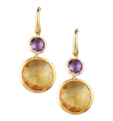 Yellow Gold Amethyst & Citrine Quartz Double Drop French Wire Earrings Jaipur Marco Bicego OB900-A MIX07 Y | Ferro Gioielli