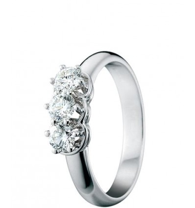 White Gold with Diamonds Trilogy Ring Minou Damiani | Ferro Gioielli