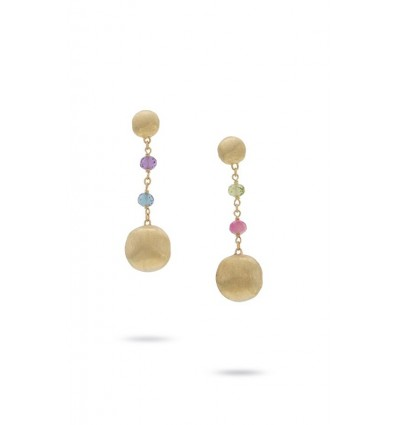 Yellow Gold and Multi-Colored Gemstone Drop Earrings Africa Gemstone Marco Bicego OB1157 MIX02 Y | Ferro Gioielli