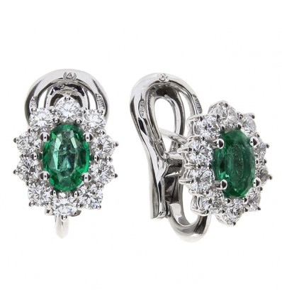 White Gold with Emeralds and Diamonds Earrings Special Classic Damiani | Ferro Gioielli
