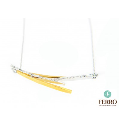 Ferro Design collana in oro e diamanti ct 0.15