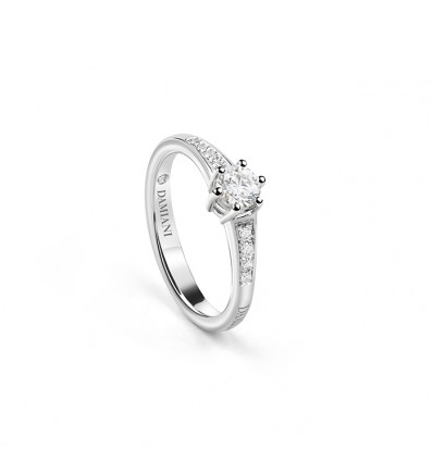 White Gold with Diamonds Solitair Ring Venere Full Pavè Damiani | Ferro Gioielli
