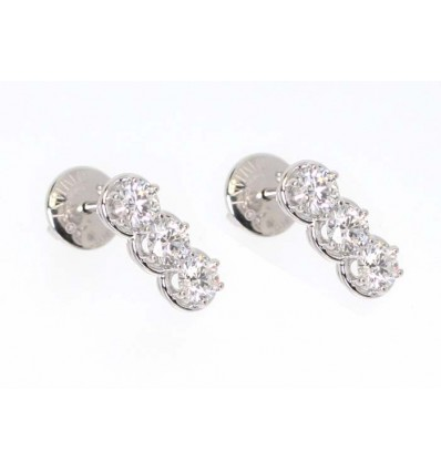 White Gold with Diamonds Trilogy Earrings Minou Damiani | Ferro Gioielli