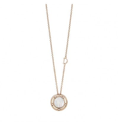 Damiani D.Side rose gold necklace with diamonds and malachite