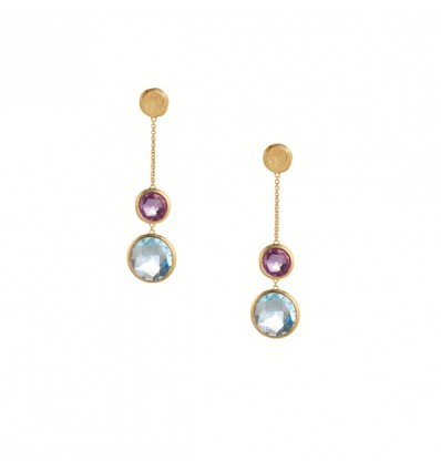 Yellow Gold and Circle Mixed Gemstones Drop Earrings Jaipur Marco Bicego OB1070 MIX52 Y | Ferro Gioielli