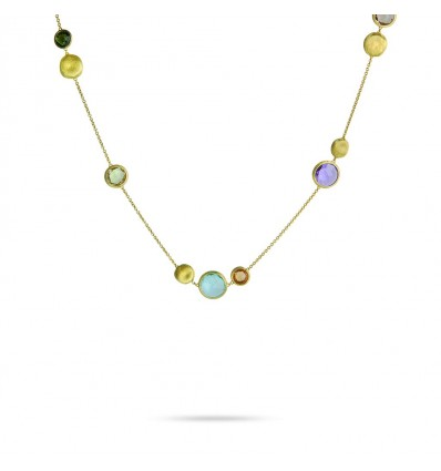 Yellow Gold and Mixed Colored Gemstones Necklace Jaipur Marco Bicego CB1485 MIX01 Y | Ferro Gioielli