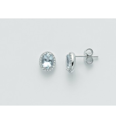 White Gold with Aquamarines and Diamonds Earrings Acquamarina Miluna ERD2411 | Ferro Gioielli