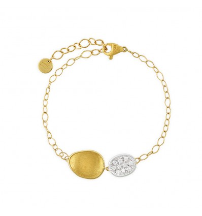 Yellow and White Gold with Single Station Diamond Chain Bracelet Lunaria Marco Bicego BB1965 B YW | Ferro Gioielli