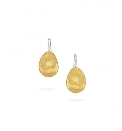 Yellow Gold & Diamond Pavé Medium French Wire Earrings Lunaria Marco Bicego OB1343-A B1 YW | Ferro Gioielli