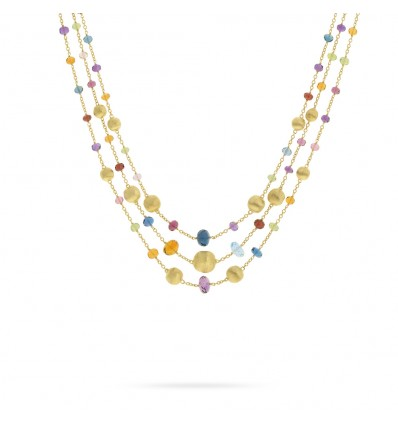 Yellow Gold and Multicolored Gemstones Triple Strand Statement Necklace Africa Marco Bicego CB2266 MIX02 Y | Ferro Gioielli