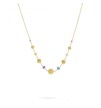 Yellow Gold and Multi-Colored Stones Short Necklace Africa Gemstone Marco Bicego CB2323 MIX02 Y | Ferro Gioielli