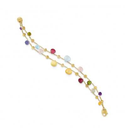Yellow Gold and Mixed Stone Two Strand Graduated Bracelet Paradise Marco Bicego BB1906 MIX01 Y | Ferro Gioielli
