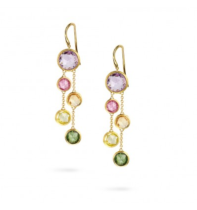 Yellow Gold with Multi-Colored Gemstones Two Strand Earrings Jaipur Marco Bicego OB1290 MIX01 Y | Ferro Gioielli