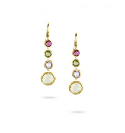 Yellow Gold & Circle Mixed Gemstones Drop Earrings Jaipur Marco Bicego OB901-A MIX01 Y | Ferro Gioielli
