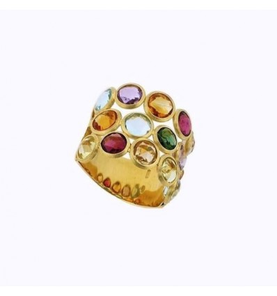 Yellow Gold and Three Row Mixed Gemstones Ring Jaipur Marco Bicego AB463 MIX01 Y | Ferro Gioielli