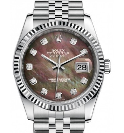 Rolex Datejust 36 mm Silver Diamonds 116234 G