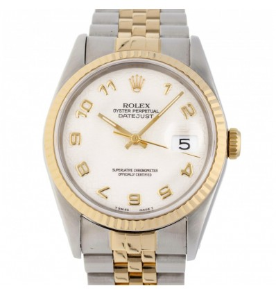 Rolex Datejust 36 mm White Steel Gold 16233 | Ferro Gioielli