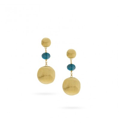 Yellow Gold and London Blue Topaz Drop Earrings Africa Gemstone Marco Bicego OB927 TPL01 Y | Ferro Gioielli