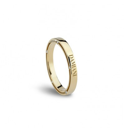 Yellow Gold with Diamonds 2.5 mm Wedding Ring D.Side Damiani | Ferro Gioielli
