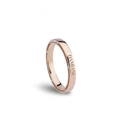Rose Gold with Diamonds 2.5 mm Wedding Ring D.Side Damiani | Ferro Gioielli