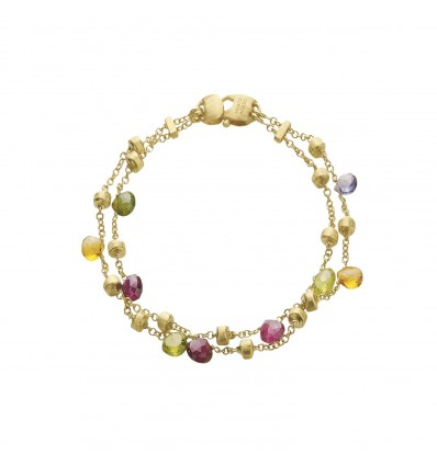 Yellow Gold with Mixed Stone and Gold Tear Drop Two Strand Bracelet Paradise Marco Bicego BB887 MIX01 Y | Ferro Gioielli