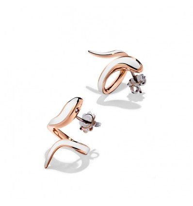 Rose Gold with White Ceramic and Diamonds Earrings Eden Damiani | Ferro Gioielli