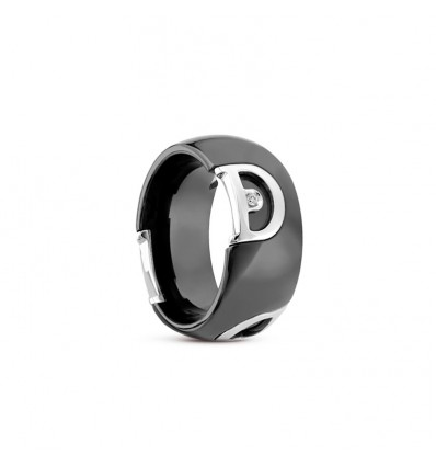 Black Ceramic and White Gold with Diamond Ring D.Icon Damiani | Ferro Gioielli