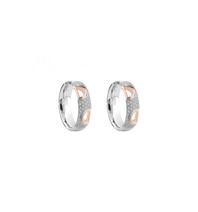 White and Rose Gold with Diamonds Earrings D.Icon Damiani | Ferro Gioielli