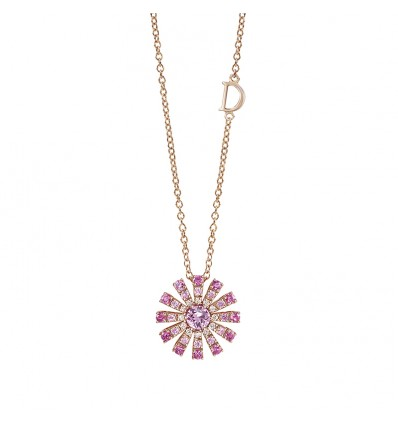 Rose Gold with Pink Sapphires and Diamonds Necklace Margherita Damiani   Ferro Gioielli