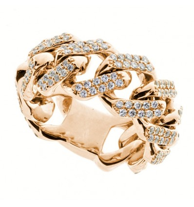 Rose Gold with Diamonds Ring Groumette Damiani | Ferro Gioielli
