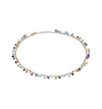Yellow Gold with Sky Topaz and Mixed Stone Short Necklace Paradise Marco Bicego CB2584-E-MIX01T Y | Ferro Gioielli