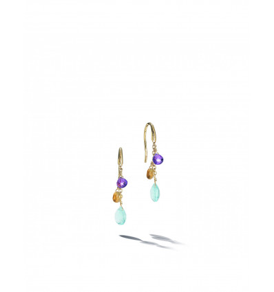 Yellow Gold with Sky Topaz and Multicolored Stone Short Hook Earrings Paradise Marco Bicego OB1742-A MIX01T Y   Ferro Gioielli