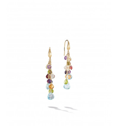 Yellow Gold with Multicolored Stones and Sky Topaz Multistrand Hook Earrings Paradise Marco Bicego OB1753-A MIX01T Y | Ferro Gioielli