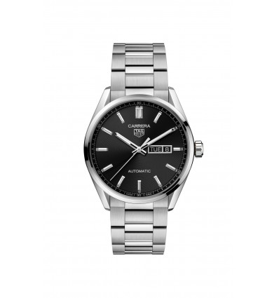 41 mm Black Dial with Stainless Steel Bracelet Calibre 5 Day-date Automatic Watch Carrera TAG Heuer   Ferro Gioielli