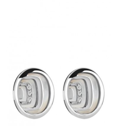 Silver and Mother of Pearl with Diamonds Earrings Damianissima 925 Damiani | Ferro Gioielli