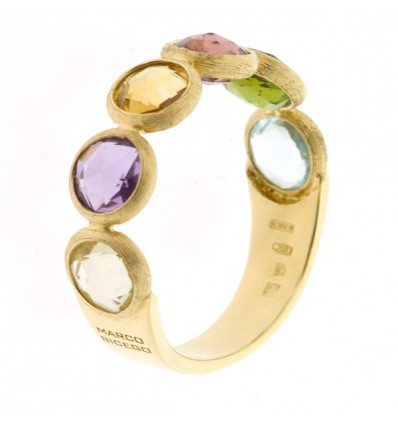 Yellow Gold and Single Row Mixed Gemstones Ring Jaipur Marco Biceco AB461 MIX01 Y | Ferro Gioielli