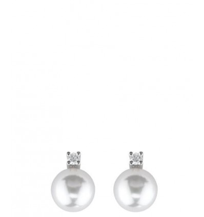 White Gold with 5 mm Pearls and ct 0.05 Diamonds Earrings Le Perle Damiani | Ferro Gioielli