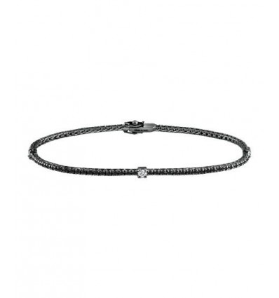 Black and White Gold with Black and White Diamonds Tennis Bracelet Notte di San Lorenzo Damiani | Ferro Gioielli