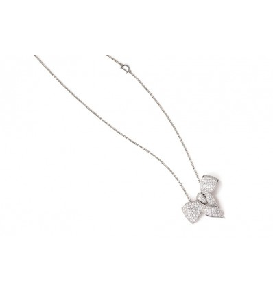 Damiani Fiocco white gold necklace with diamonds ct 0.85 | Ferro Gioielli