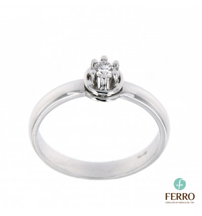Ferro Design anello solitario in oro bianco e diamante ct 0.15 G