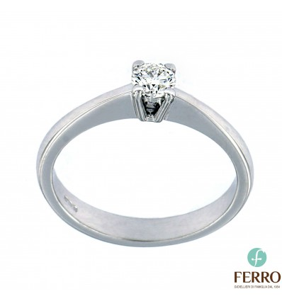 Ferro Design anello solitario in oro bianco e diamante ct 0.26