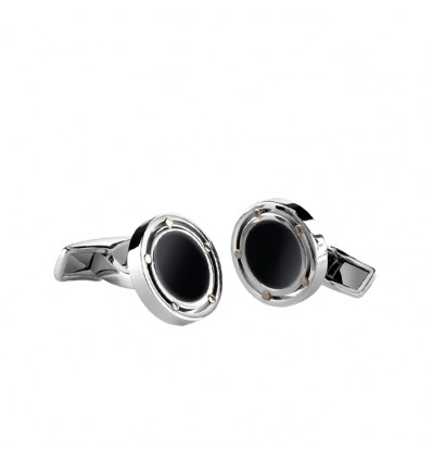 Steel and Rose Gold Cufflinks with onix D.Side Damiani | Ferro Gioielli