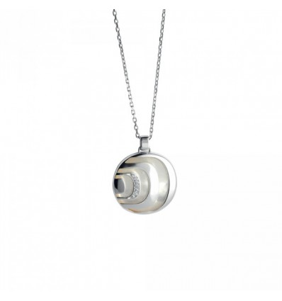 Damiani Damianissima.925 silver necklace, with diamonds and mother of pearl